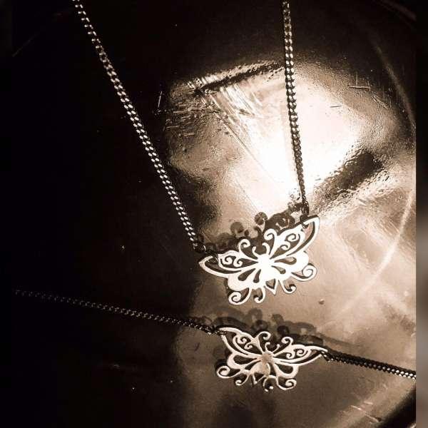 ست طرح پروانه مشبک دستبند گردنبند نقره دست ساز