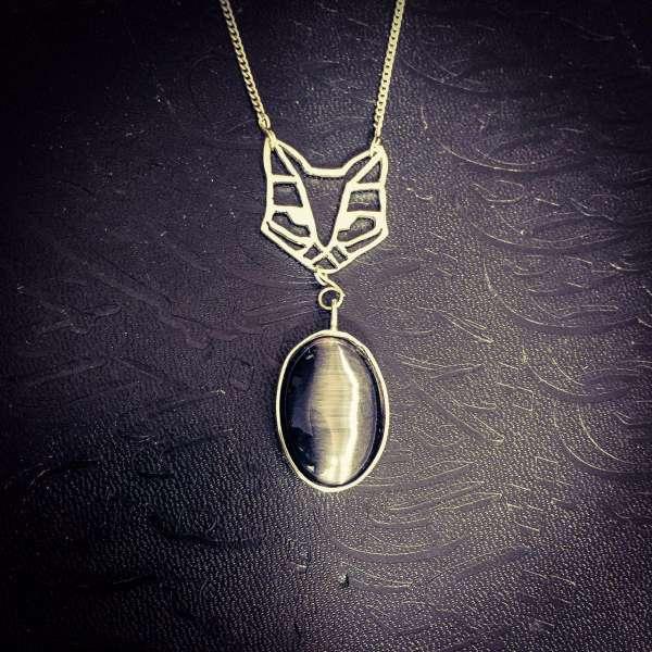 مدال گردنبند دست ساز گربه سنگ چشم گربه نقره