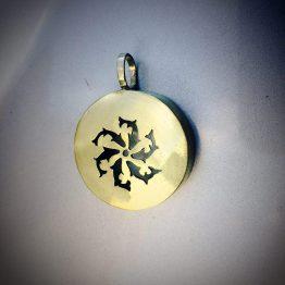 مدال گردنبند دست ساز حوض ماهی دایره نقره