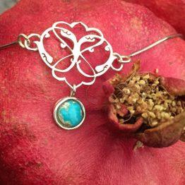 گردنبند ترکیب نقره و سنگ فیروزه