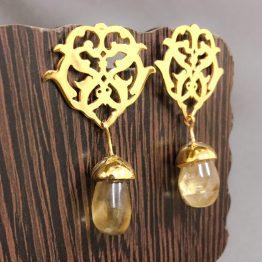 گوشواره ترکیب طلا و سنگ