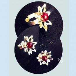 انگشتر طرح گل با سنگ عقیق