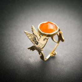 انگشتر دست ساز غقیق طرح پرنده