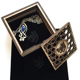 مدال اسم لیلا با سنگ لاجورد