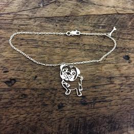 دستبند سگ نقره با آویز استخوان
